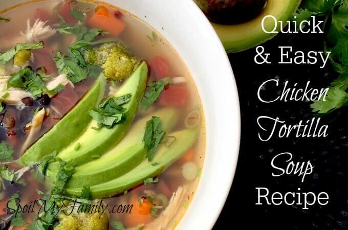 This is a wonderful easy soup recipe for chicken tortilla soup.I first made this easy soup recipe in the summer and it was a perfect meal that didn't heat the kitchen up too much! It's also soup - so it's warm and comforting enough for cooler weather! www.themidlifemamas.com
