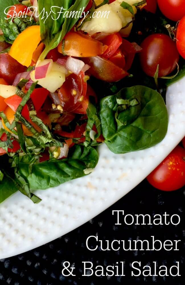 This recipe for tomato, cucumber and basil salad is a fresh, crisp, and cool side to any summer dish. Change it up and have a second recipe in seconds! www.themidlifemamas.com
