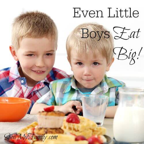 Little boys sure can throw down some groceries! You don't have to wait until they are teens! www.themidlifemamas.com #boyseat