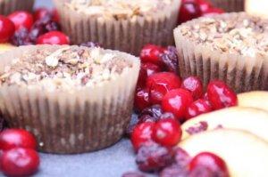 Cranberry Peach Cobbler Muffins