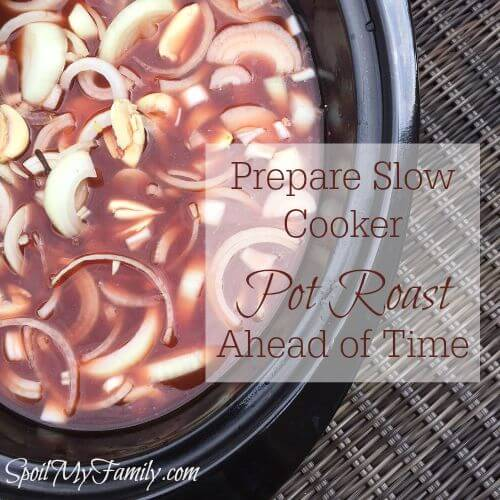 Slow cooker pot roast is the perfect make the night before meal and can also be prepared as a freezer meal. www.themidlifemamas.com #slowcooker #slowcookerpotroast #potroastrecipe