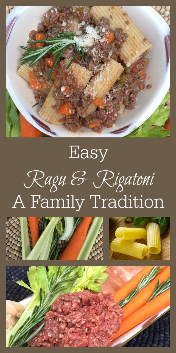 This is a really easy ragu recipe that will warm you heart and soul when there's a chill in the air. It's the very definition of comfort food. www.themidlifemamas.com #familytraditions #ragu #ragurecipe #easyragurecipe #raguandrigatoni
