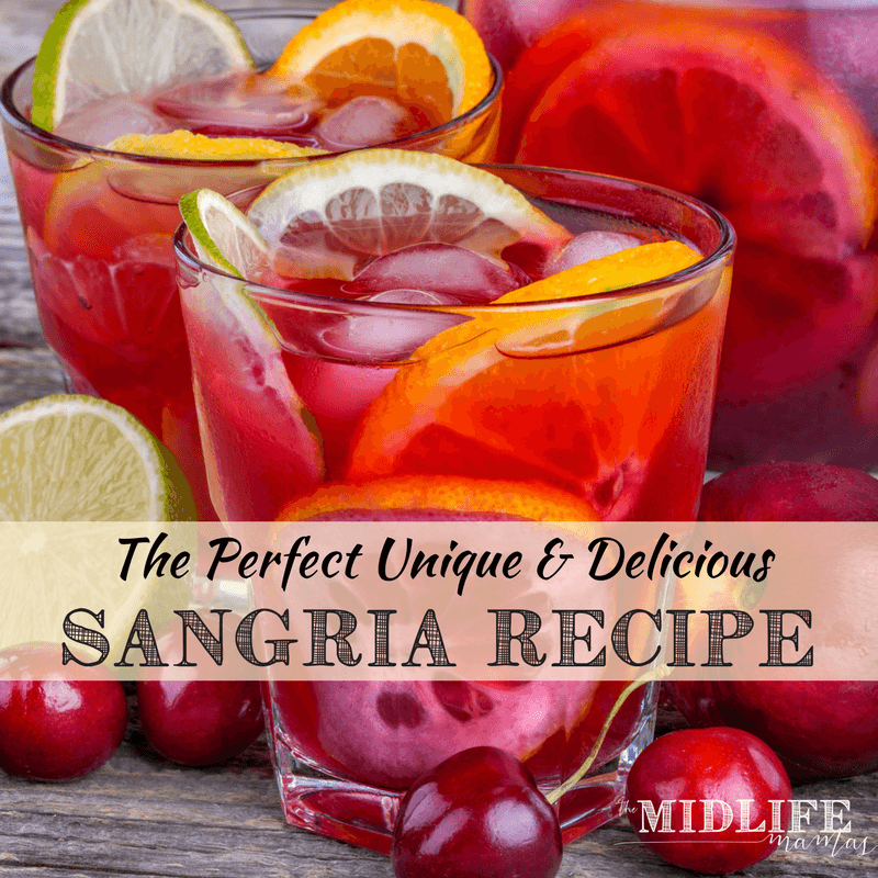 This is the most simple and unique red sangria recipe ever! With the easy days of summer passing and the crisp days of fall on winter on their way - this is the perfect crowd pleaser! #sangria #redwine www.themidlifemamas.com