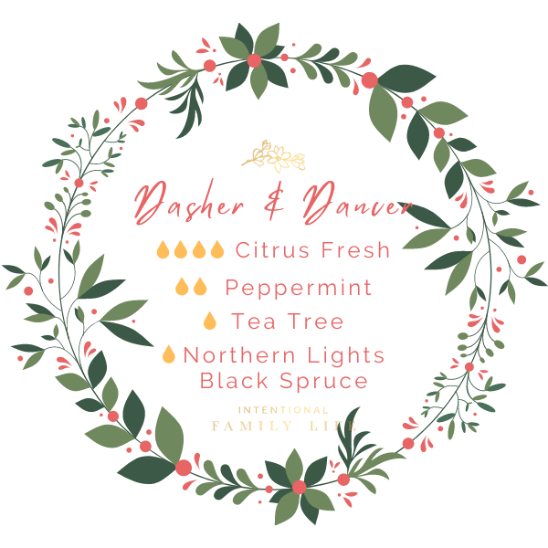 "Image of Christmas essential oil recipe for ""Dasher & Dancer"" blend by Young Living. 4 drops Citrus Fresh / 2 drops Peppermint / 1 drop Tea Tree / 1 drop Northern Lights Black Spruce"