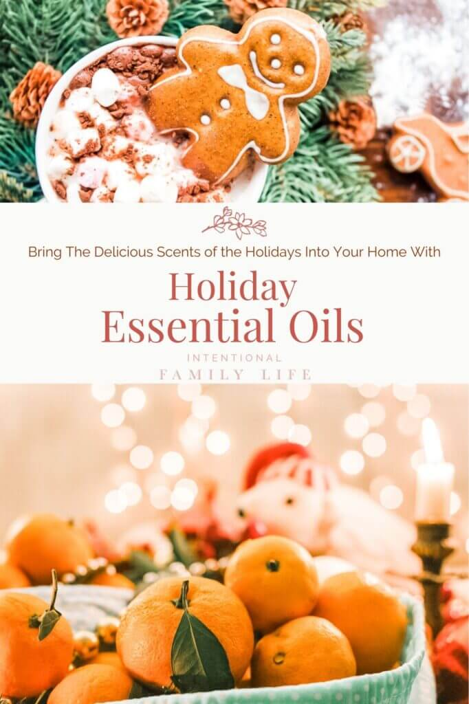 Images of holiday lights and decorations - focusing on a gingerbread man, pine boughs, fresh oranges, cinnamon sticks, and cloves - displaying the scents of Christmas