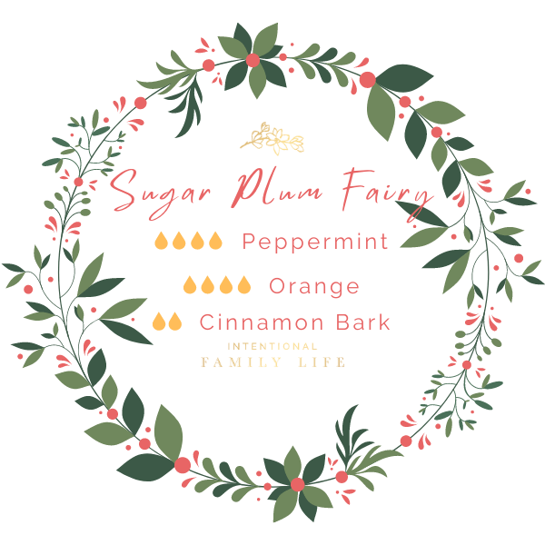 "Image of Christmas essential oil recipe for ""Sugar Plum Fairy"" blend by Young Living. 4 drops Peppermint / 4 drops Orange / 2 drops Cinnamon Bark"