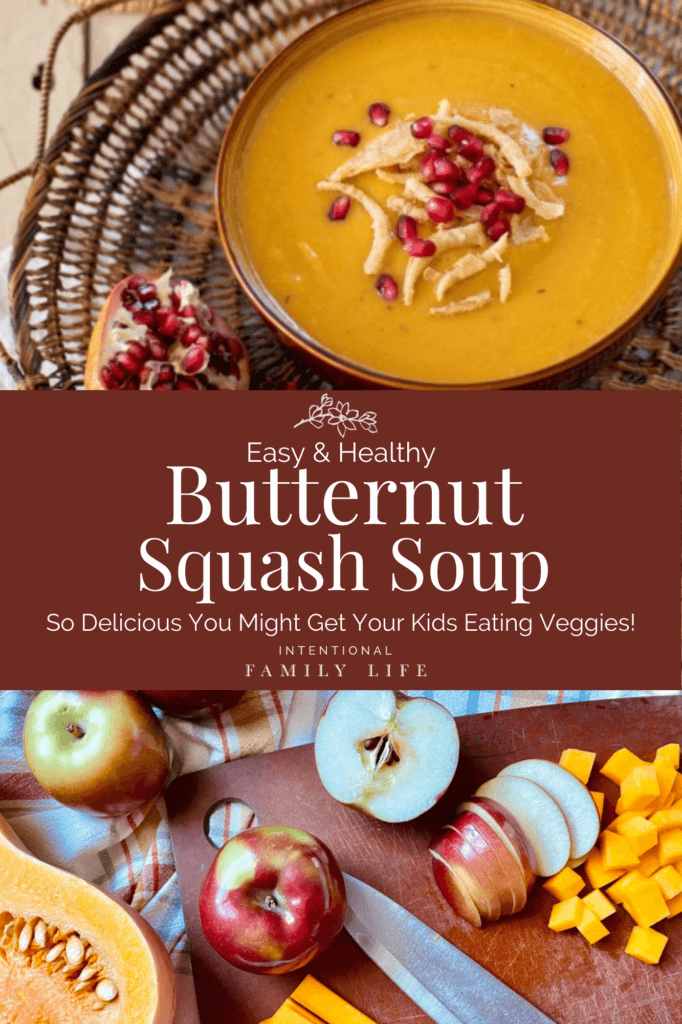 Photo of a warm and inviting bowl of butternut squash soup with apple