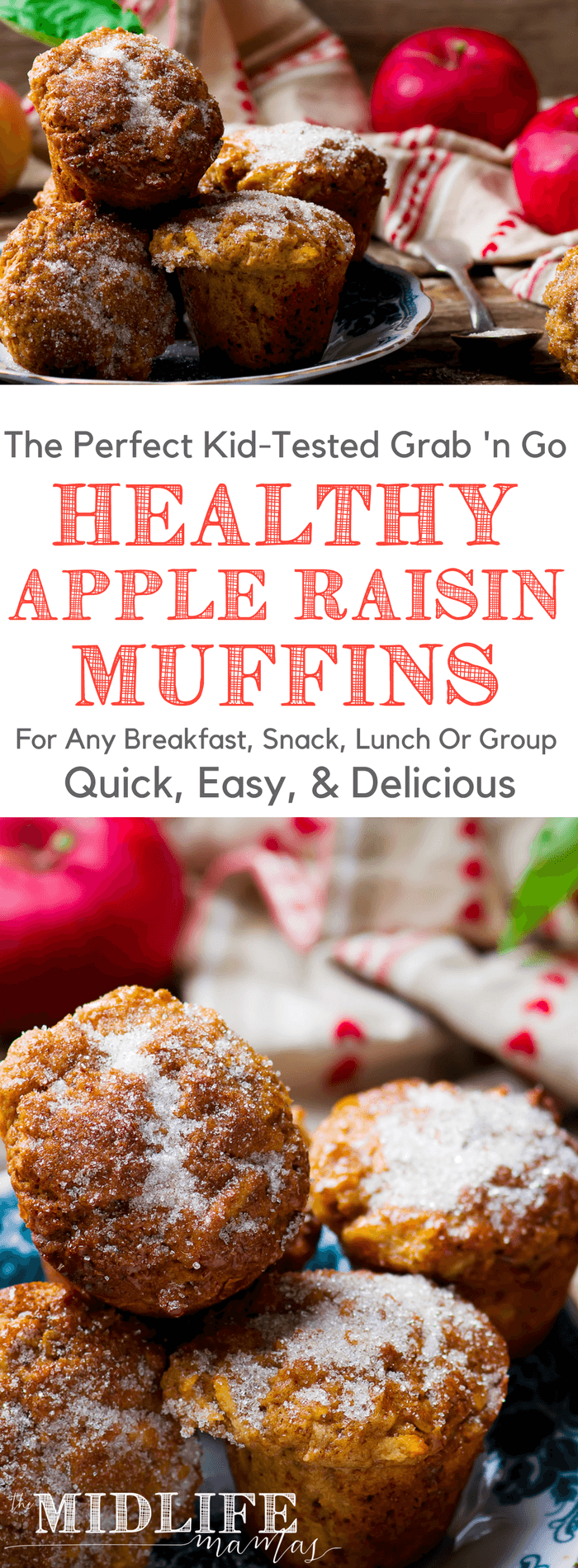 I love this clean eating recipe for healthy apple muffins. I am not a good baker - but these are easy! The kids love them for breakfast or snacks. It's delicious (see what happened there?) that they are flavored with cinnamon and maple syrup; they are gluten free and don't have any oil, eggs, or butter. What they do have is fiber, protein, and healthy fats from oatmeal, flax and chia seeds! #healthyapplemuffins #healthymuffins #applemuffins #cleaneatingmuffins www.themidlifemamas.com