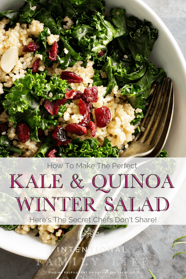There's not quite anything like a hearty winter salad filled with soul warming ingredients including kale, quinoa, and cranberries. Top it off with the best tangy citrus dressing and you've got a little slice of heaven for lunch or dinner. This salad is delicious, healthy, and easy to fix. It's also low-carb, paleo, and gluten free. And I love that you can easily add ingredients like apples, goat cheese, butternut squash, beets. #wintersalad #kalesalad #quinoasalad
