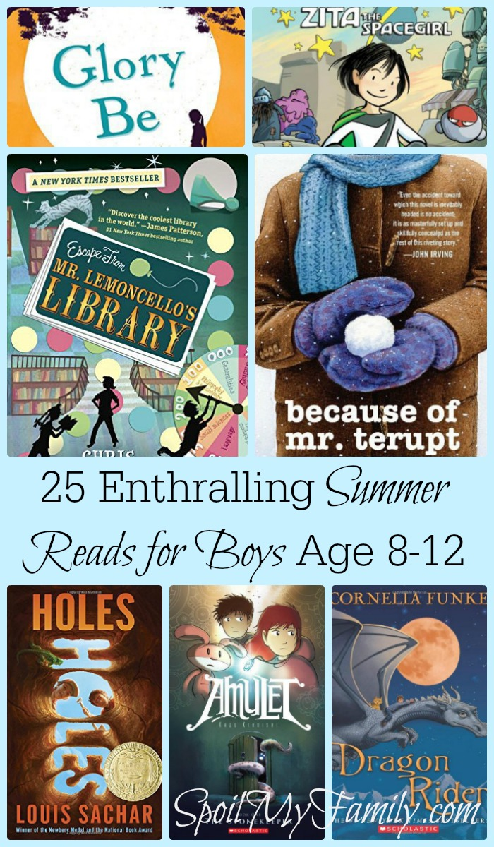 I love having a list of great books right at my fingertips! This is a great summer reading list for my boys between the ages of 8-12! www.themidlifemamas.com