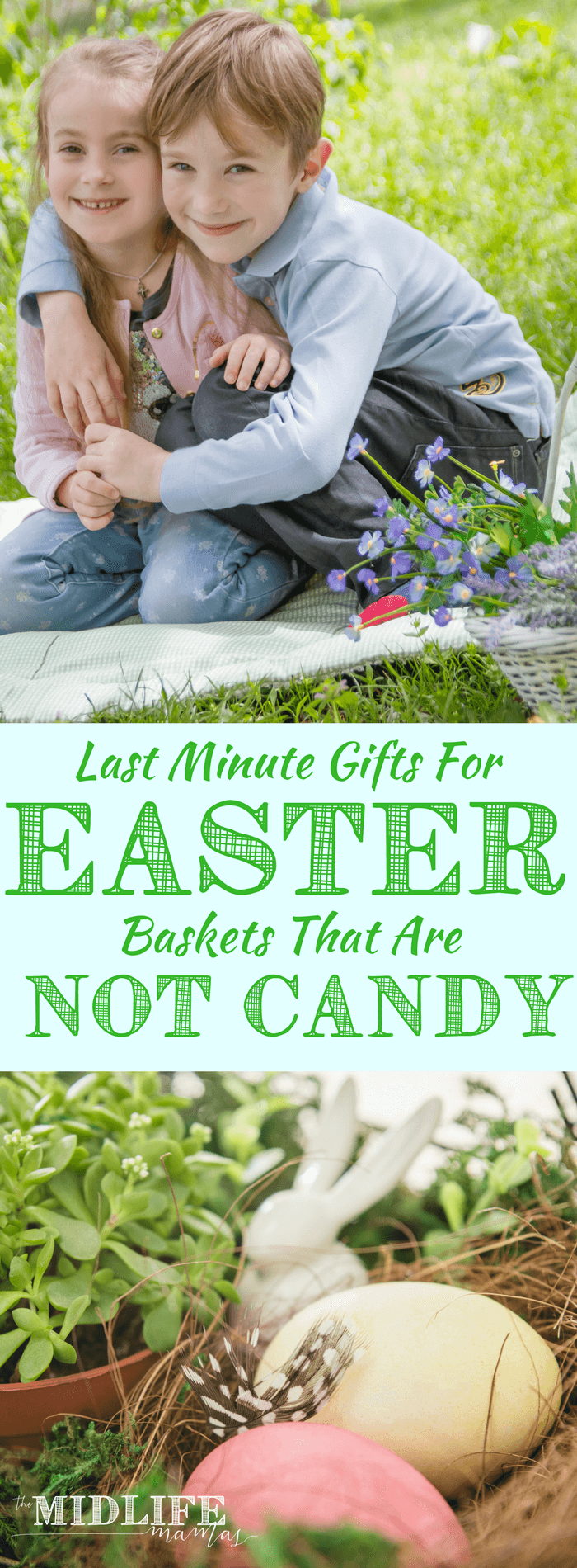 Are you desperately searching for last minute gift ideas for Easter baskets without candy? Even though I was behind, I was looking for creative alternatives to just stuffing the Easter baskets with candy. I loved these unique filler ideas for boys or girls and this list was a life saver! #Easterbaskets #gifts www.themidlifemamas.com