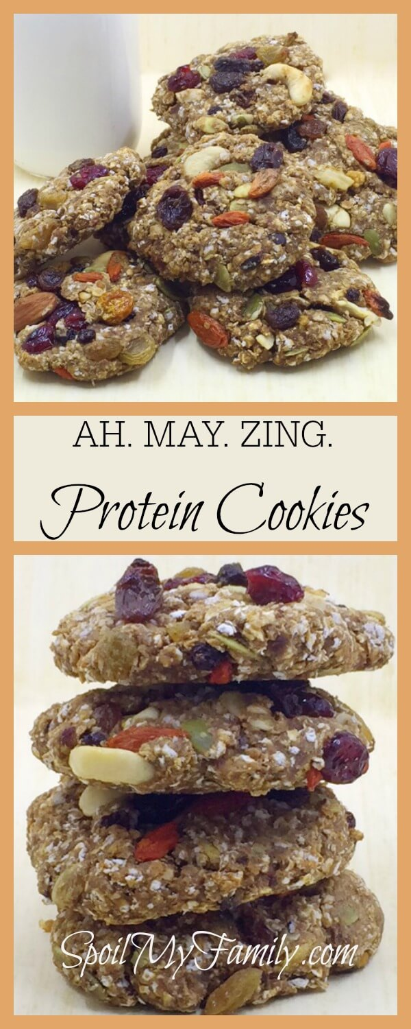 These trail mix protein cookies that are vegan and gluten free are also delicious and loaded with protein! They've become favorites of everyone in our house! www.themidlifemamas.com