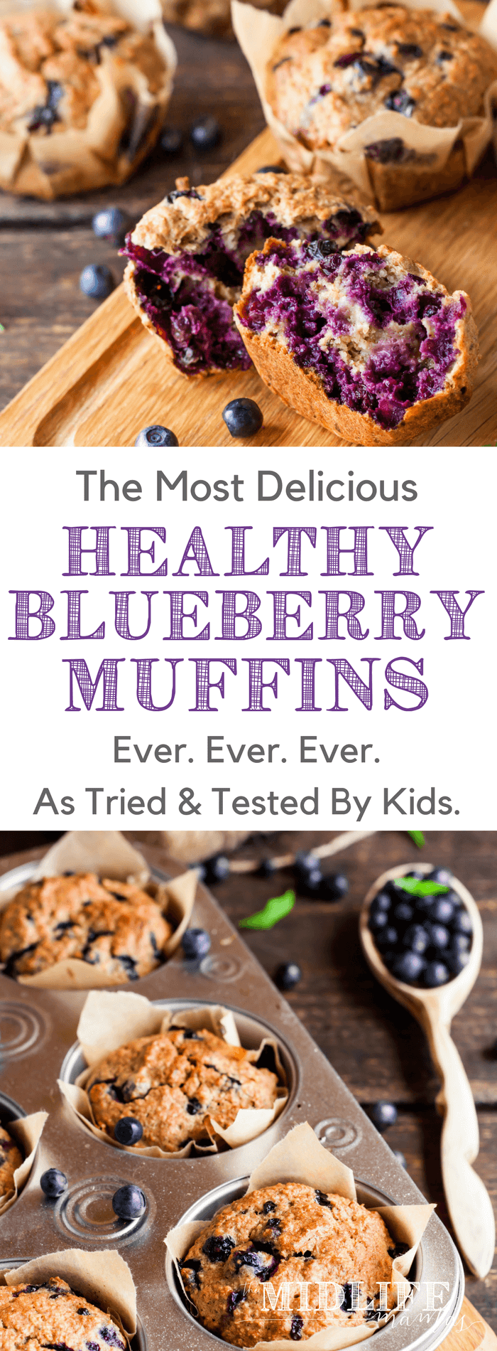 This easy homemade blueberry muffin recipe makes the very best moist and healthy blueberry muffins ever! They are gluten, egg, and dairy free - but are loaded with flavor from fresh or frozen blueberries, maple syrup, and the best cinnamon and vanilla. These blueberry muffins are made super healthy by adding flax seed, chia seeds, and oatmeal for fiber. This simple, clean-eating recipe is perfect for breakfast or snacks and the kids love it!! #healthymuffins #blueberrymuffins #blueberrymuffinrecipe #healthyblueberrymuffins #healthysnack www.themidlifemamas.com