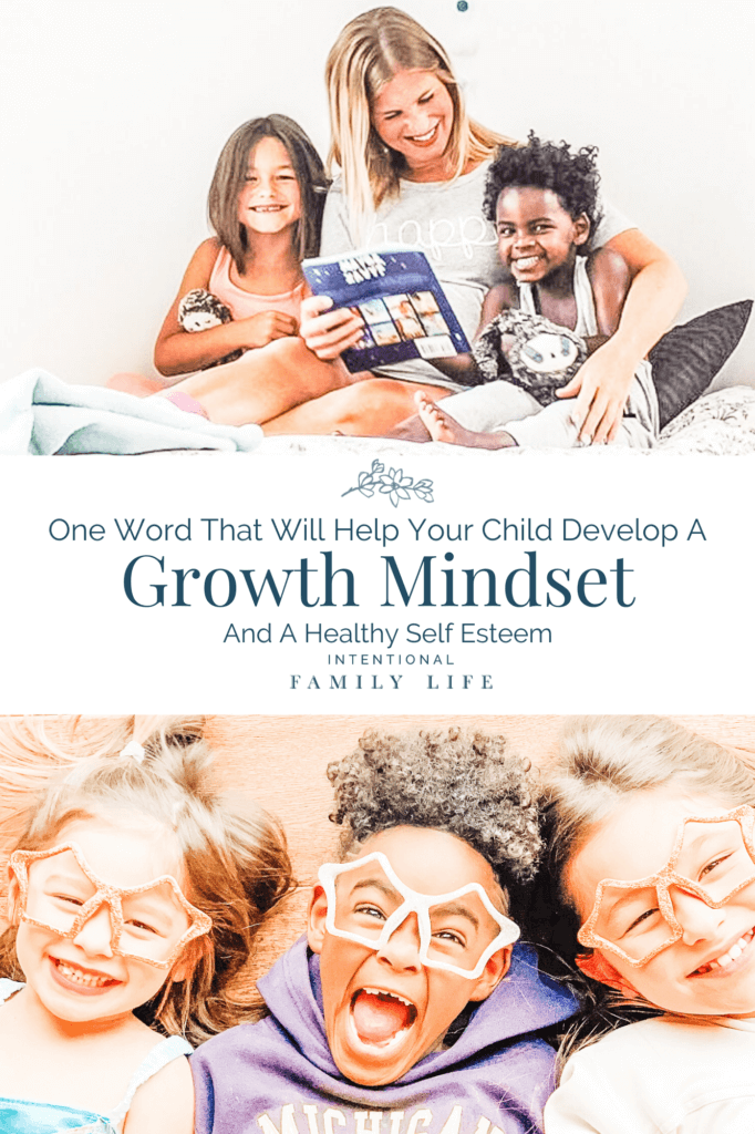 Mom reading to kids at bedtime and three happy kids with silly sunglasses concept of success mindset