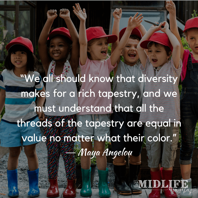 I want to teach my kids about social justice. This post was helpful as it focused on new ideas and ways to start conversations with children about social justice. Check out the printable ideas for parents to start every-day conversations about social justice, fairness, and kindness with children of all ages. #socialjustice #kindness #resist www.themidlifemamas.com