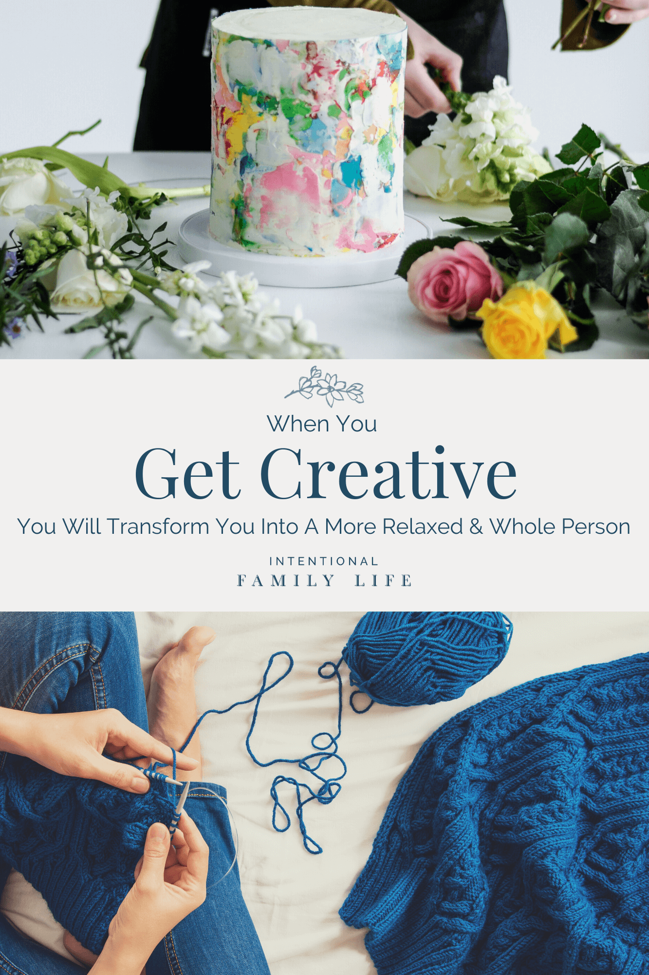 Women get creative - decorating a cake with fresh flowers or knitting by hand.