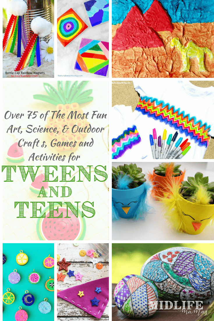 These are the most awesome creative ideas and inspirations for art projects, fun crafts, games, and activities that work for children of any age - kids, to tweens, to teens. Your entire family will love these crafts, games and activities!  Are you looking for terrific and creative summer or school break activities for kids to get them off a screens?  #craftsforteens #tweens #artsandcrafts www.themidlifemamas.com