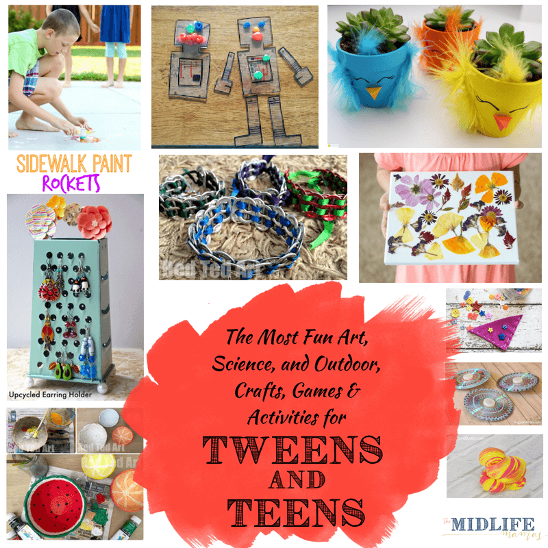 I scoured the web and found some of the most awesome creative ideas and inspirations for art projects, fun crafts, games, and activities that work for all children - from kids, to tweens, to teenagers. These are truly crafts for teens and tweens, games, activities, and art projects for teens and tweens that your entire family will love!  Are you looking for terrific and creative summer activities for kids that will get them off a screen, like I was? I shared all the great DIY ideas that I found right here and I also love that you can use so many of these ideas to make handmade gifts for friends. #craftsforteens #tweens #artsandcrafts www.themidlifemamas.com