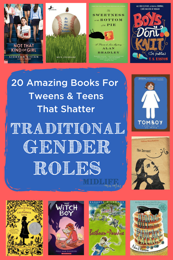 It's easy to find books with maincharacters who defy gender stereotypesfor young children. But I couldn't find these books for school age kids. I found this list with super entertaining stories that also just happen to show characters turning stereotypical or traditional gender roles upside down! #genderroles #stereotypes #gender www.themidlifemamas.com