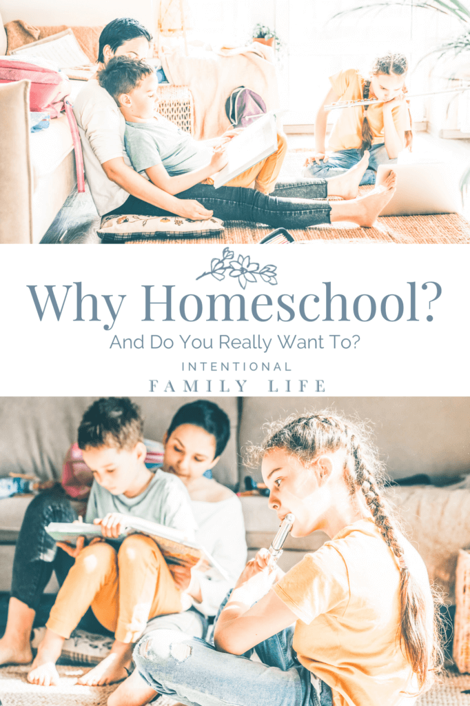 two similar images of happy mother comfortably on floor reading with son for school and daughter on sofa practicing her flute suggesting benefits of homeschool