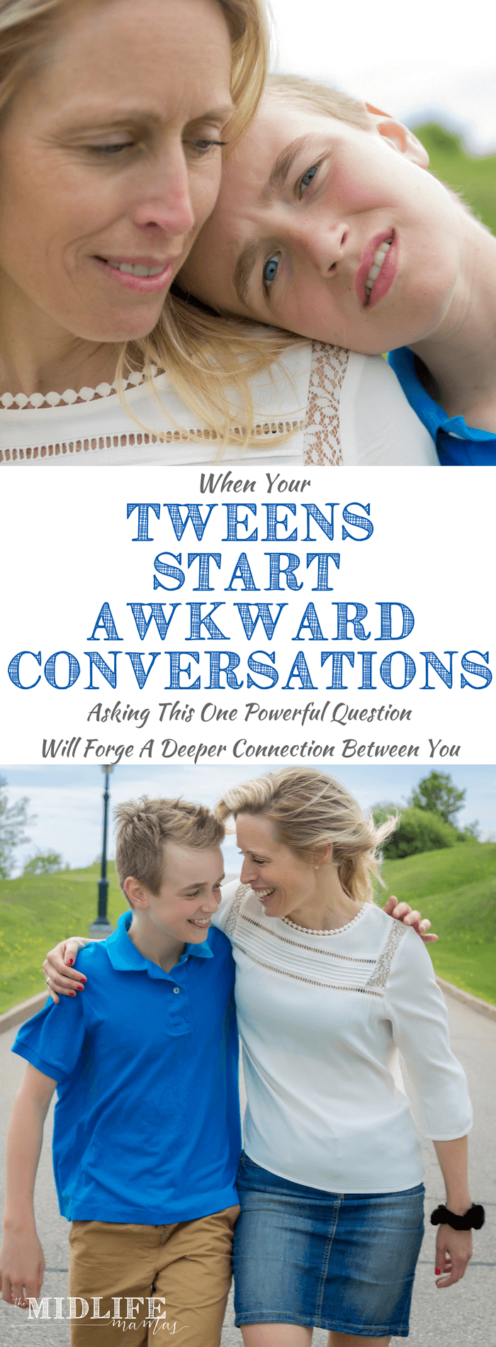 We all know that there will inevitably be awkward conversations with your tween or teen. I love this idea / tip because no matter how flustered or embarrassed I feel by my child's conversation starters, this works! What parents really want is a way to respond positively in the moment when we've been caught off guard instead of reacting negatively and damaging our relationship with our child. Here's the only phrase you'll ever need to know! #positiveresponse #tweens #teenagers #parentingtweens #parentingteens #parenting www.themidlifemamas.com