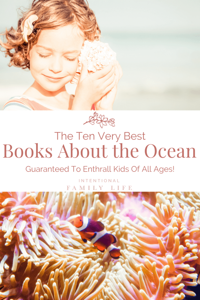 Image of girl holding shell to her ear at the beach and second image of anemone and fish in ocean - for concept of ocean books and ocean facts