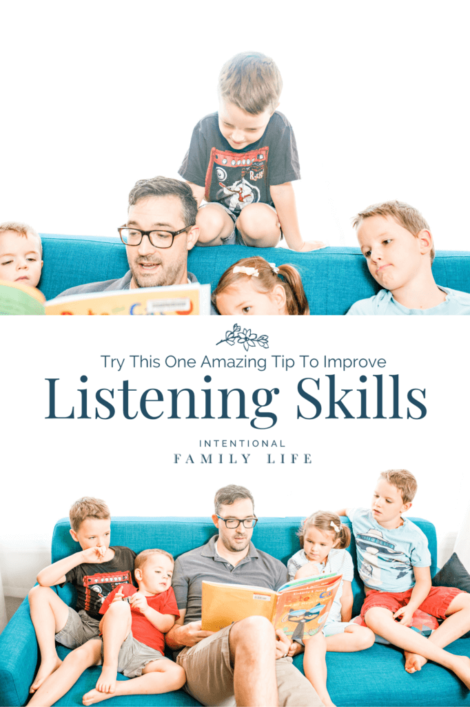 2 images of a father reading to his attentive children suggesting the concept of children developing listening skills