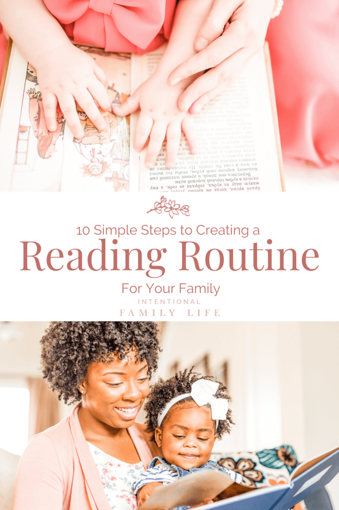 Image of child and mother's hands on open book and second image of mother reading to daughter on her lap - concept of creating a family reading habit