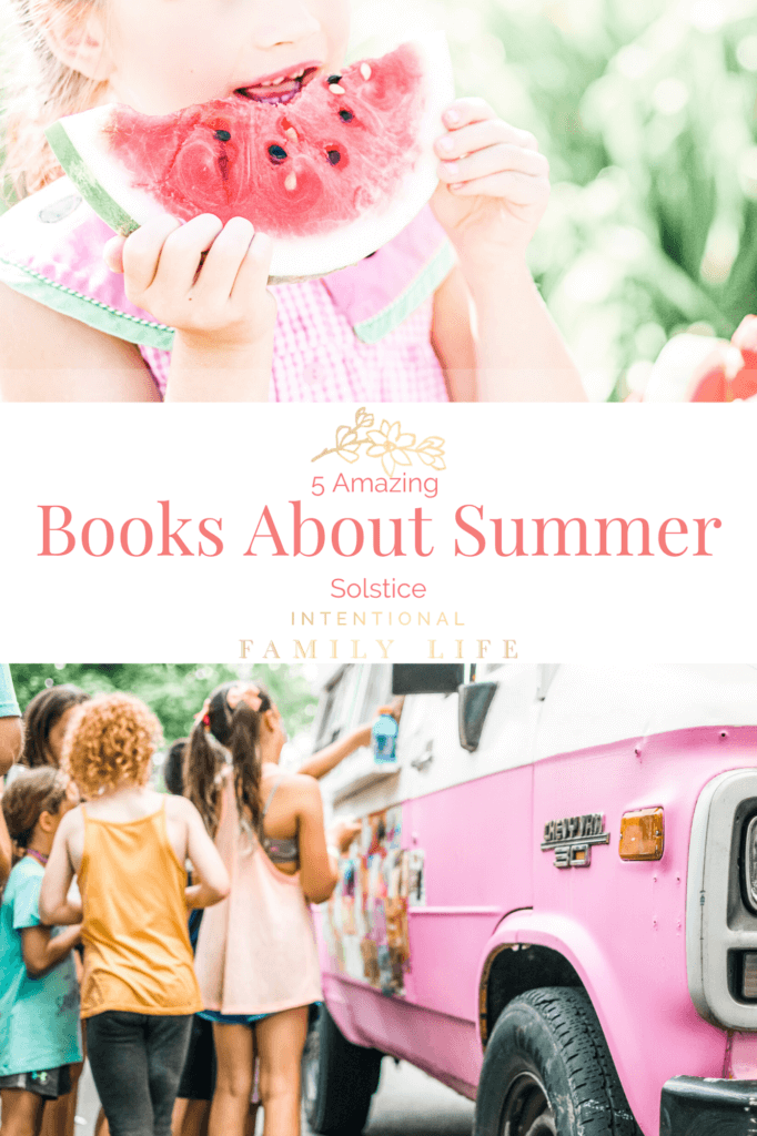 image of little girl eating watermelon in summer and kids waiting in line at ice cream truck - representing summer solstice fun and traditions