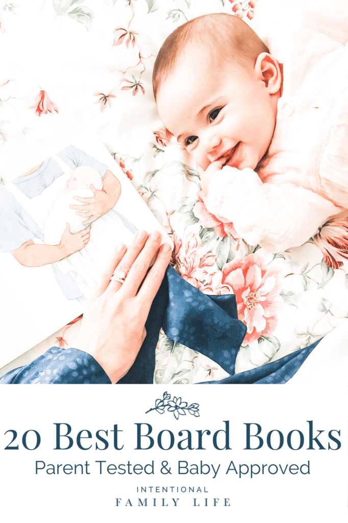 image of mother reading baby book to smiling baby on mom's bed