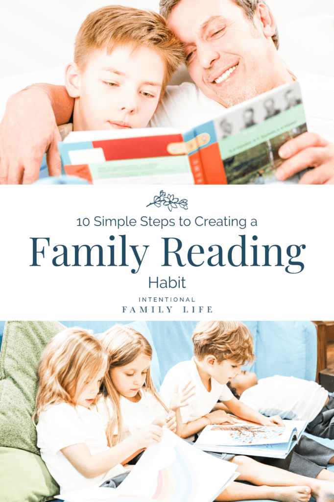 Image of father reading to son - concept of passing a strong family reading habit