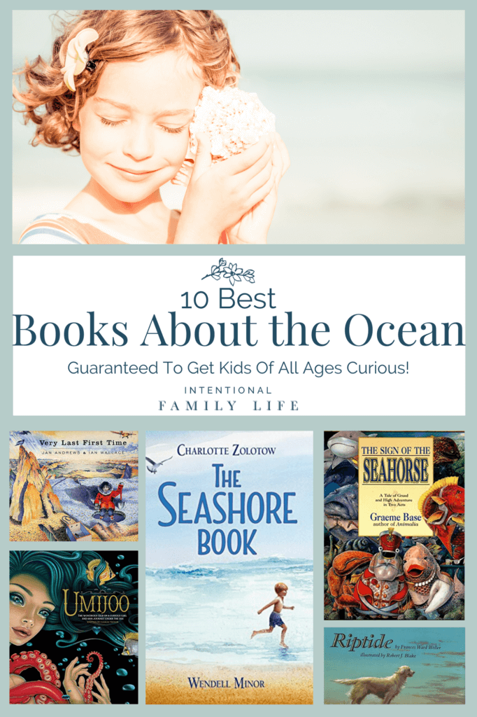 Image of girl holding shell to her ear at the beach and second image of anemone and fish in ocean - for concept of books about the ocean for kids