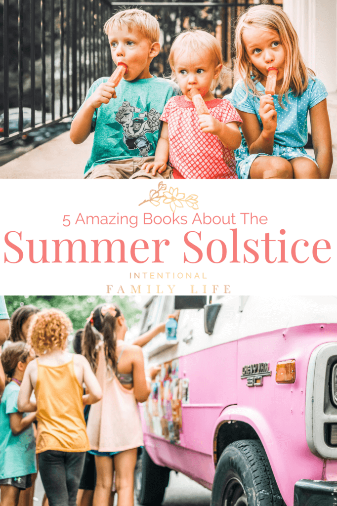 images of kids eating popsicles in summer and kids waiting in line at ice cream truck - representing summer solstice traditions and fun