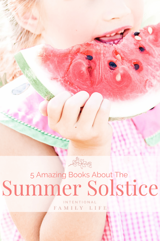 image of a little girl eating watermelon in summer and kids waiting in line at ice cream truck - representing summer solstice traditions and fun