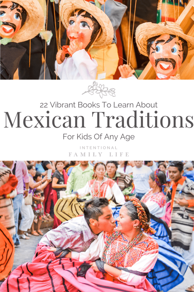 image of Mexican folk art puppets and second image of a Mexican tradition celebration - suggestive of Mexican culture