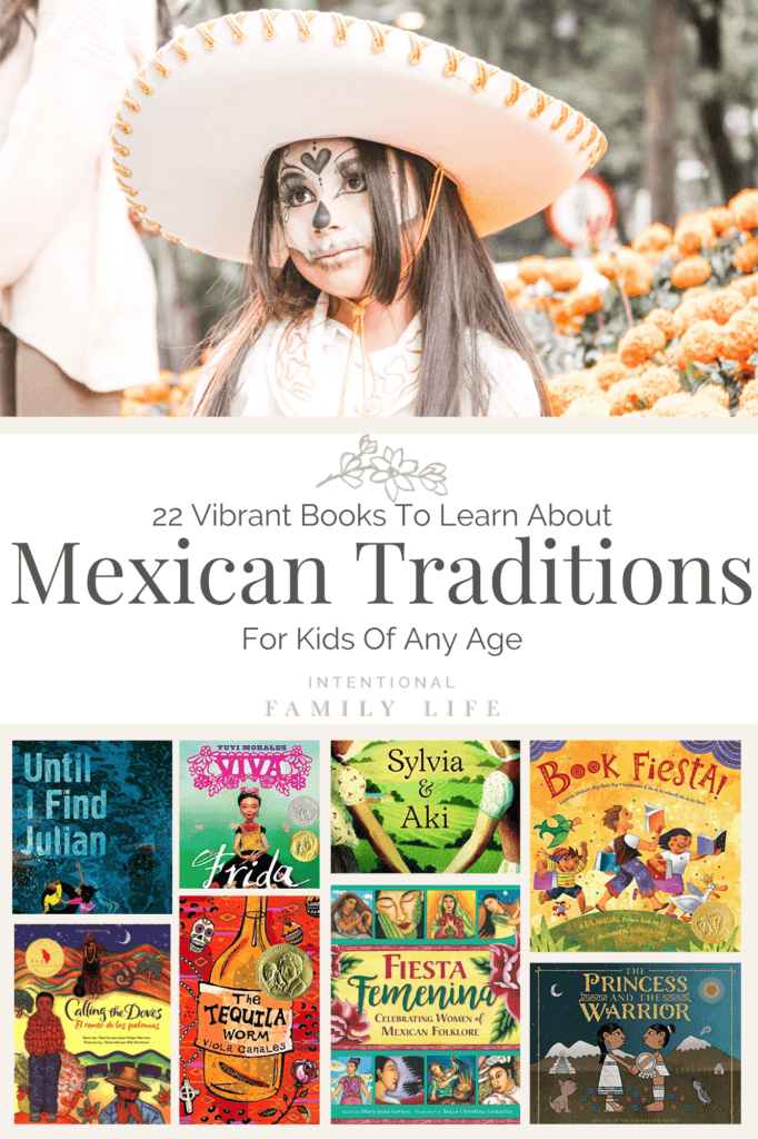 photo of young girl in dia del muertos makeup and sombrero - also images of various book covers that reflect Mexican culture