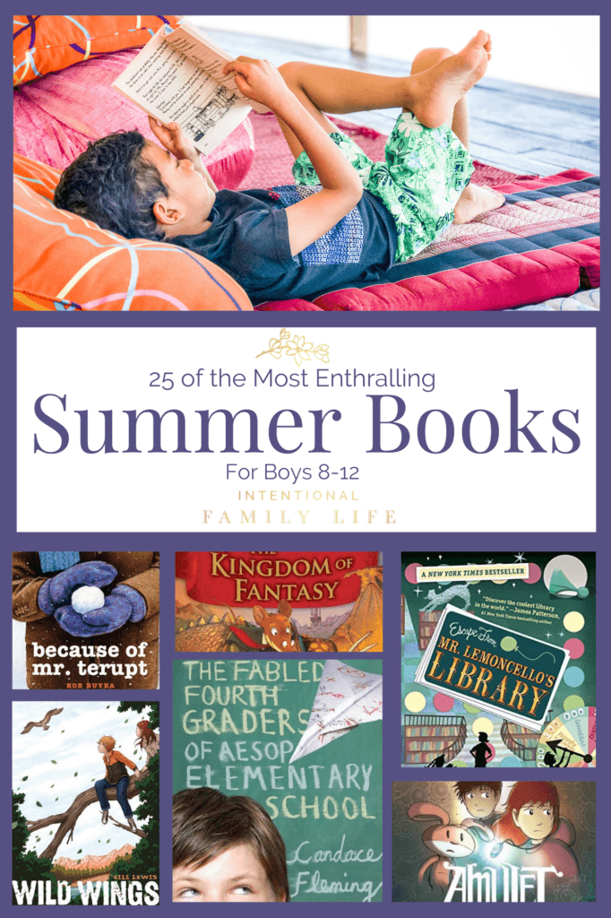 I love having a list of great books for boys right at my fingertips! This is a great summer reading list for my boys between the ages of 8-12! www.intentionalfamilylife.com