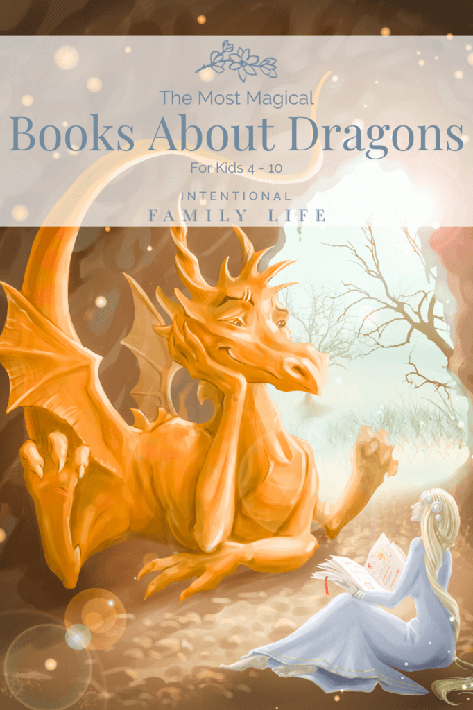 Image of fantasy dragon happily listening to story read aloud by a beautiful princess suggestive of books about dragons
