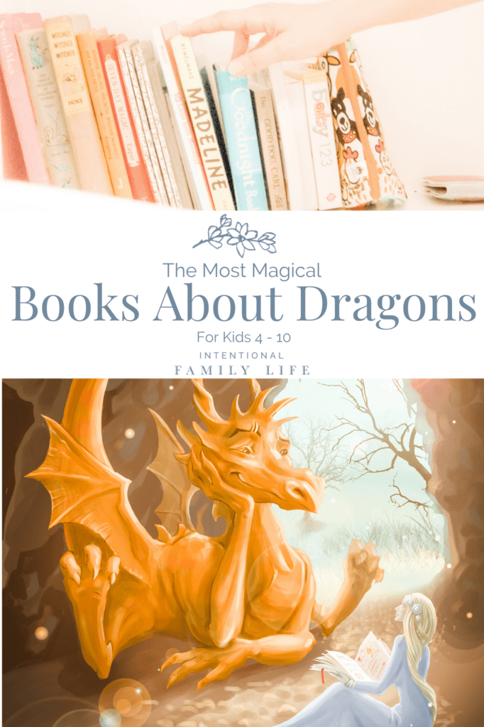 Image of beautiful children's books lined up on a shelf; also an Image of beautiful golden dragon happily listening to story read aloud by a beautiful princess suggestive of books about dragons