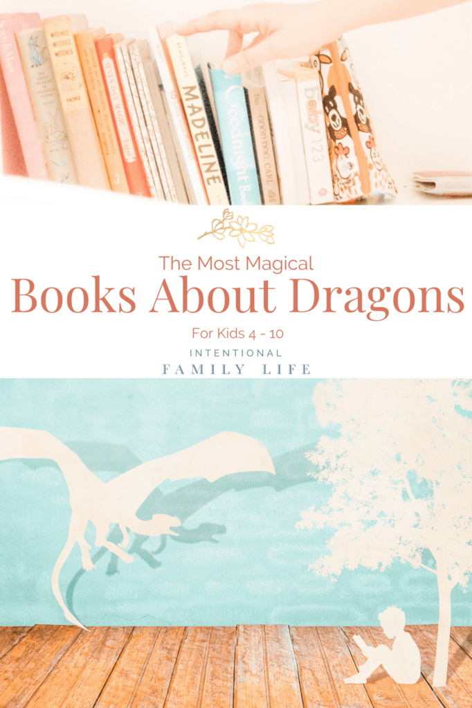 Image of beautiful children's books lined up on a shelf; CG image with paper cut out silhouettes of a flying dragon and a boy sitting under a tree reading - suggesting the concept of books about dragons