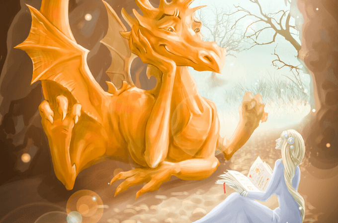 Image of beautiful golden dragon happily listening to story read aloud by a beautiful princess suggestive of books about dragons