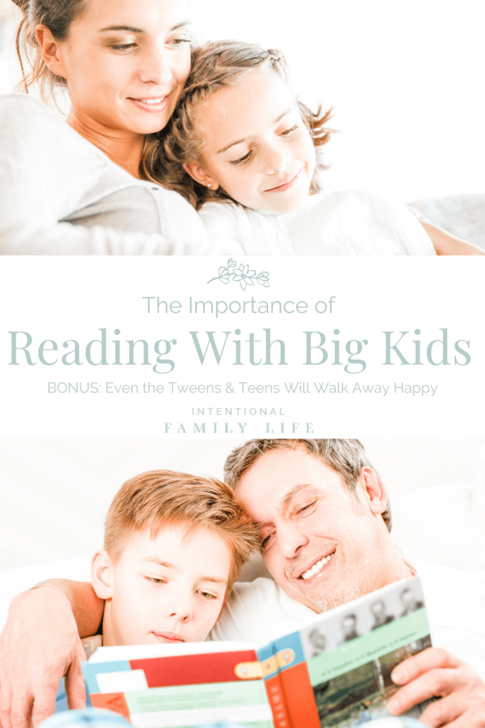 Two images: one of a mother and daughter snuggled together on the sofa reading a book; the other of father and son doing the same - concept of importance of reading to older children