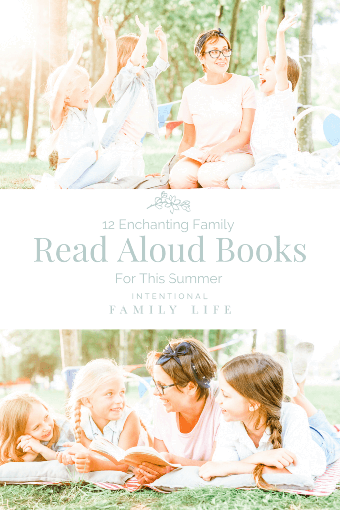 Two images of happy mother and three pretty daughters outside on picnic blanket reading outside in the sunshine - concept of read aloud books or books for summer