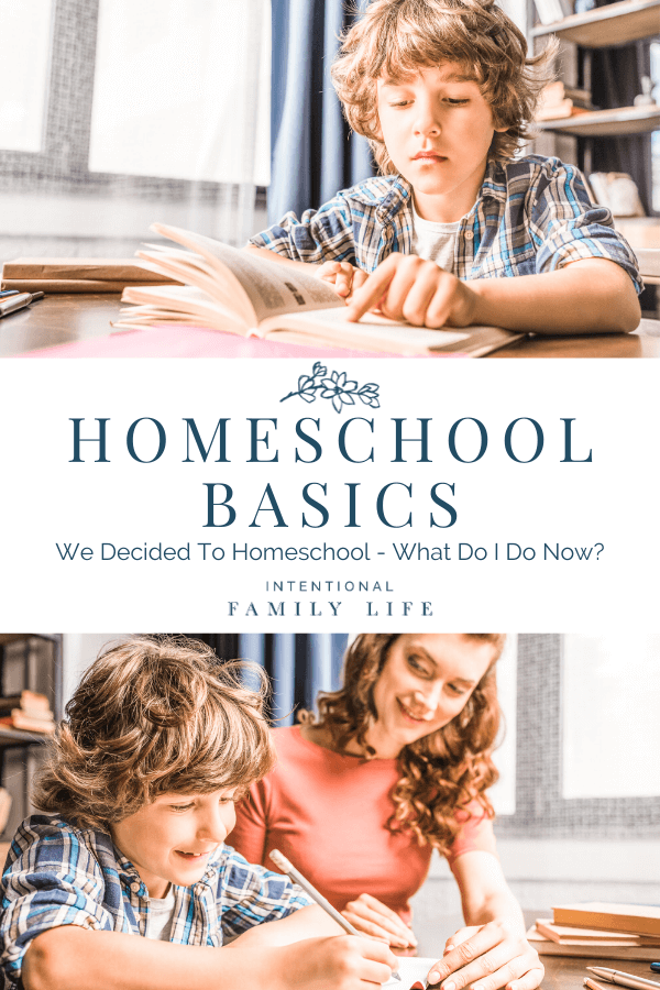 One image of an elementary school boy studying and reading from a book and another image of his mother helping him and smiling at his success. Both images suggesting learning how to homeschool.