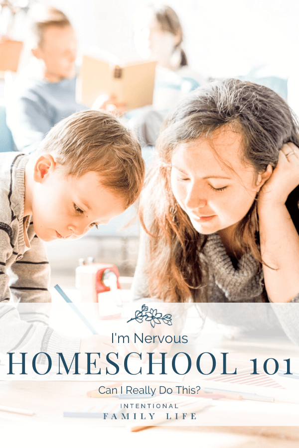 Image of mother helping son with homeschool work while, in the background, father helps daughter with her work suggesting homeschooling