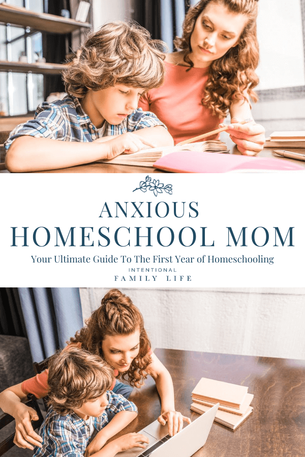 Two images of mother and son working together on homeschool work