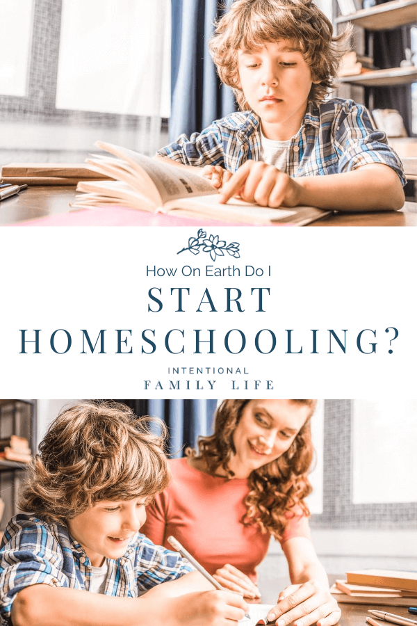 Image of son working on homeschool work and a second image of son working with his mom on schoolwork suggesting the idea of starting to homeschool