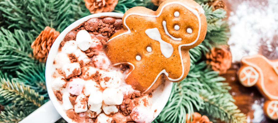 Image of hot chocolate with gingerbread man on background of pine boughs and small decorative pine cones imaging the idea of holiday smells and Christmas essential oils